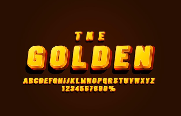 Gold font set collection letters and numbers symbol vector