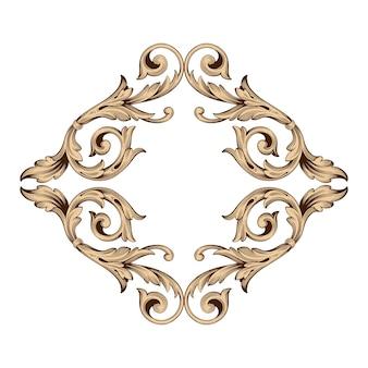 Золотая рамка и граница в стиле барокко. черный и белый цвет. цветочная гравировка.