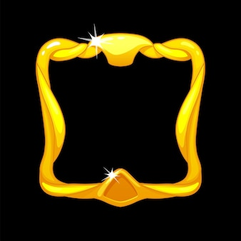 Gold frame avatar, royal square template for ui game ui