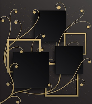 Gold frame background on golden ivy pattern with a black gradient background