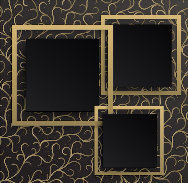 Gold frame background on golden  pattern with a black gradient background