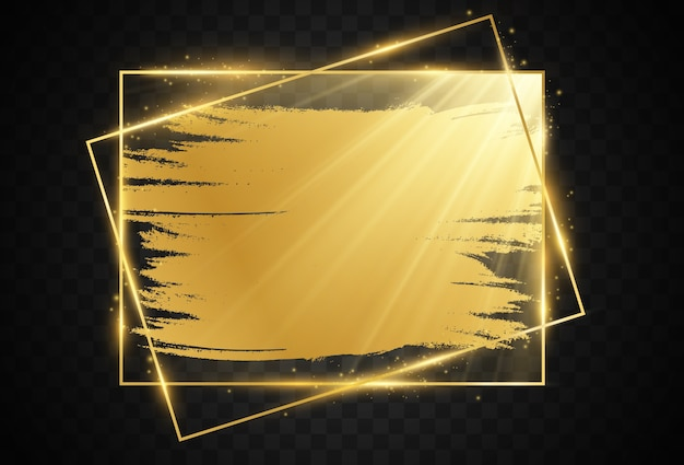 A gold frame on a black background