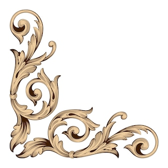 Gold frame and border with baroque style.  black and white color. floral engraving decoration