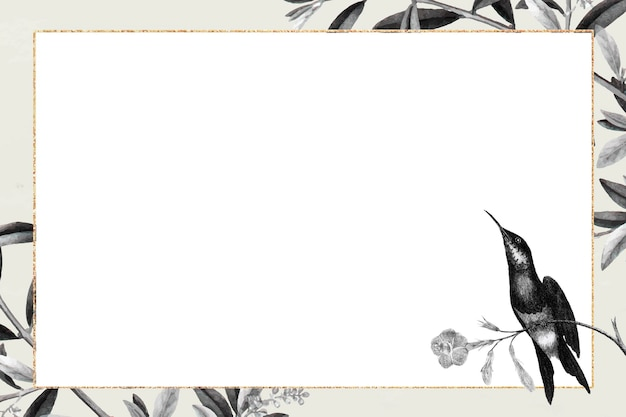 Gold frame on  botanical pattern vector