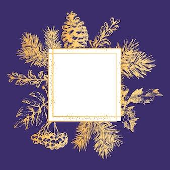 Золотая рамка рождество и новогодний пригласительный билет. рисованной векторные иллюстрации ретро венок на светлом фоне. зимний праздничный сборник