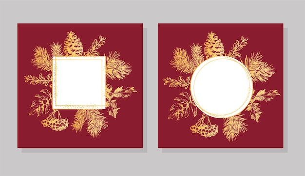Gold frame christmas and new year invitation card. hand drawn vector illustration of retro wreath on light background. winter holiday collection
