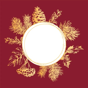 Gold frame christmas and new year invitation card hand drawn vector illustration of retro wreath on ...