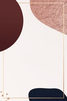 Cornice dorata su uno sfondo con motivo a collage