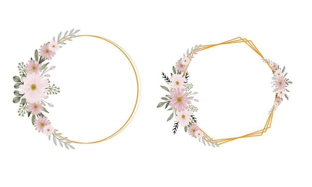 핑크 데이지 꽃다발 수채화와 골드 프레임 컬렉션
