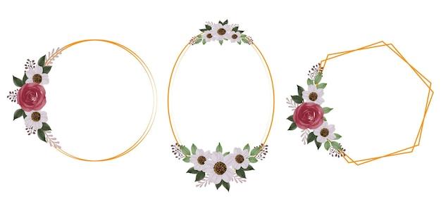 結婚式の招待状の赤いバラの花束とゴールドフレームコレクション