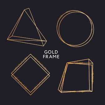 Gold frame decor isolated vector shiny gold