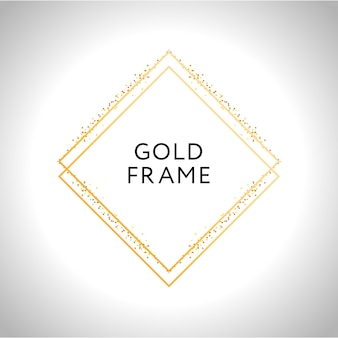 Gold frame decor isolated