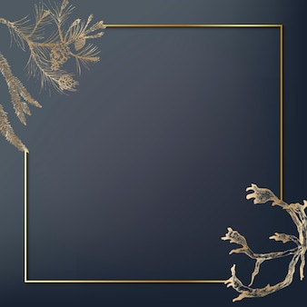 Gold frame decorated with antlers social background
