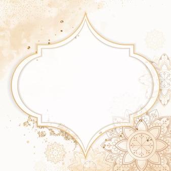 Cornice dorata su sfondo motivo diwali