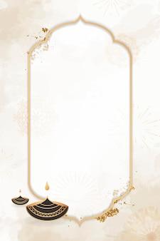Gold frame on diwali pattern background