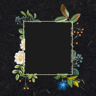 ゴールドフレーム花柄ボーダーヴィンテージイラスト