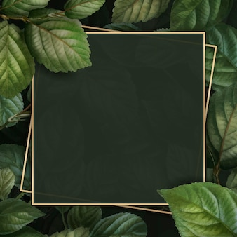 Gold frame on foliage pattern background vector template