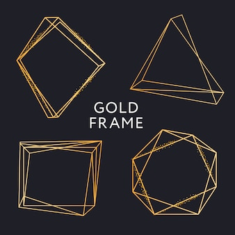 Gold frame geometric shape minimalism vector design banner set