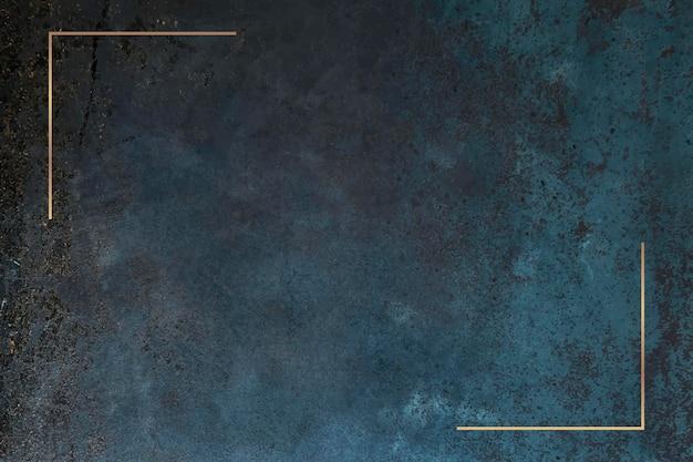 Gold frame on grunge blue background