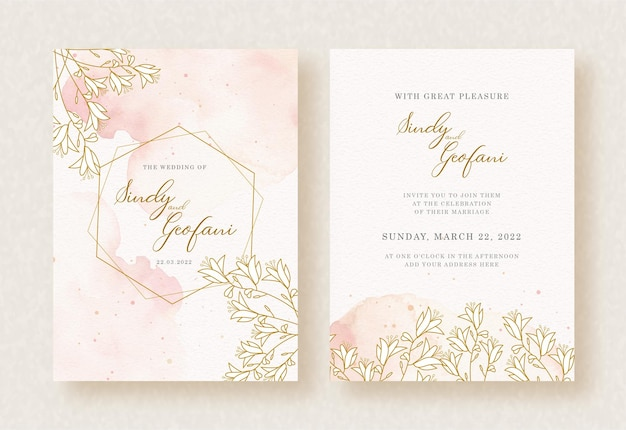 Gold frame hexagon with floral watercolor background of wedding invitation