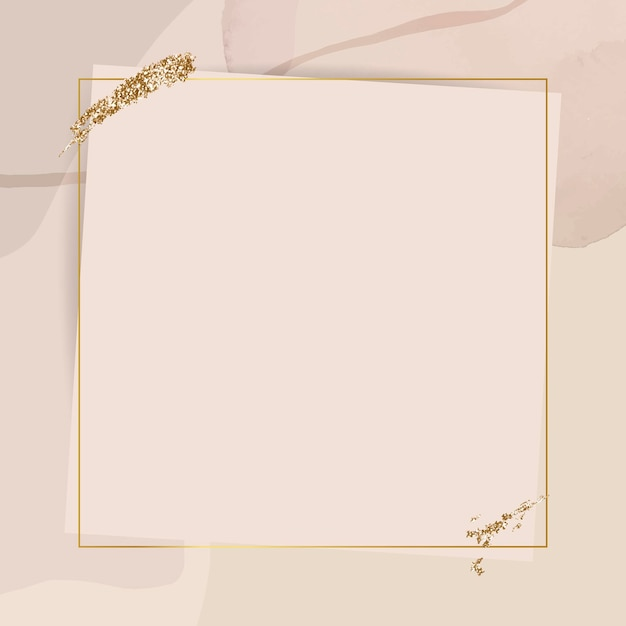 Gold frame on neutral watercolor background