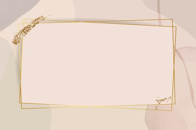 Cornice dorata su sfondo acquerello neutro