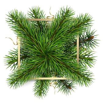 モミの枝の背景にゴールドフレーム。グリーティングカードやラベルを飾るための現実的な要素。