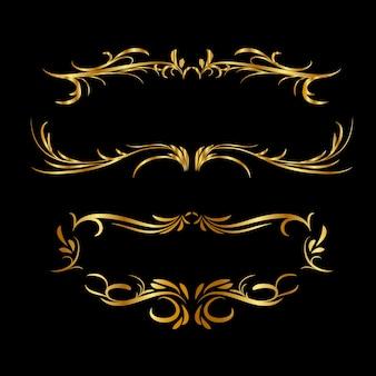 Золотая рамка на темном фоне