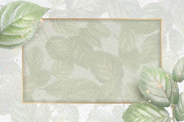 葉のパターンの背景ベクトルテンプレートにゴールドフレーム