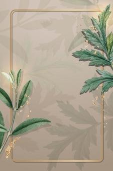 葉のパターンの背景にゴールドフレーム