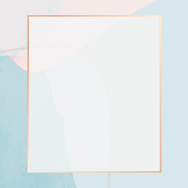ニュートラルブルーの水彩画の背景にゴールドフレーム