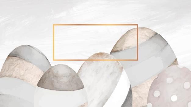 중립 회색 부활절 달걀 배경에 골드 프레임 무료 벡터