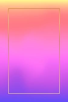 ピンクと紫のホログラフィックパターンの背景にゴールドフレーム