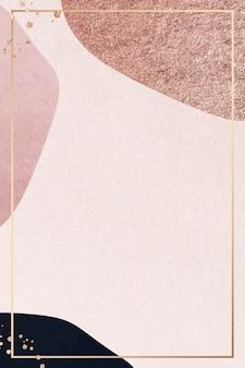 Золотая рамка на розовом фоне с рисунком