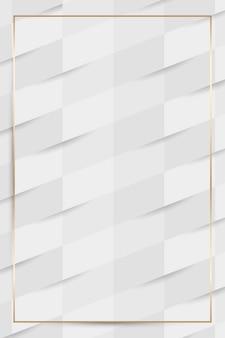 白いシームレスな織りパターンの背景にゴールドフレーム