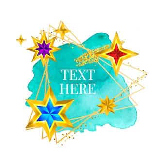 Золотая рамка краска ручная роспись мазка кистью. идеальный дизайн для заголовка, логотипа и рекламного баннера