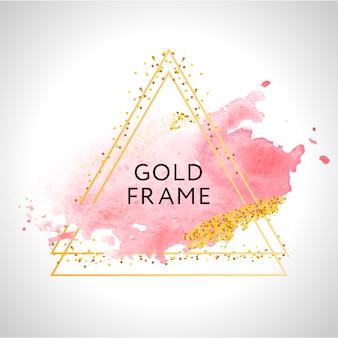 Золотая рамка краски ручная роспись мазка. идеально подходит для заголовка, логотипа и продажи баннера. акварель