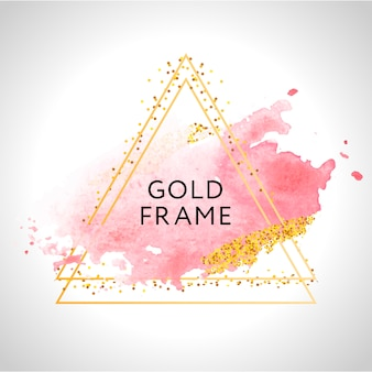 Gold frame paint hand painted  brush stroke. perfect  for headline, logo and sale banner. watercolor