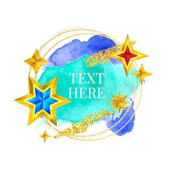 Золотая рамка краска ручная роспись векторных мазков кистью. идеальный дизайн для заголовка, логотипа и рекламного баннера. акварель