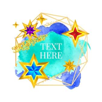 Золотая рамка краска ручная роспись векторных мазков кистью. идеальный дизайн для заголовка, логотипа и рекламного баннера. акварель.