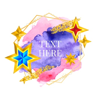 Gold frame paint hand painted vector brush stroke. perfect design for headline, logo and sale banner. watercolor