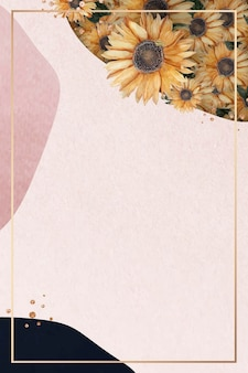 Gold frame on pink collage background with sunflowers
