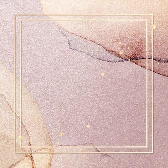 Gold frame on pink glitter background vector