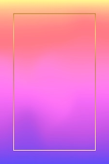 Gold frame on pink and purple holographic pattern background