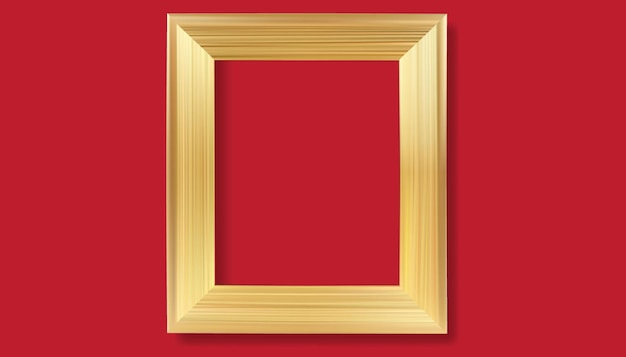 Gold frame on red background vector realistic isolated golden shiny glowing border frame