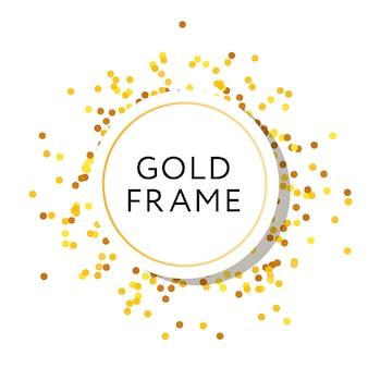 Gold frame round minimalism vector design banner