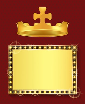 Gold frame and royal crown, king or queen jewelry