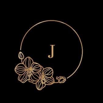 골드 프레임 템플릿 orchid flower와 문자 j가 있는 모노그램 개념은 최소한의 선형 스타일입니다. 텍스트 복사 공간이 있는 벡터 꽃 로고. 화장품, 의약품, 식품, 패션, 미용 엠블럼