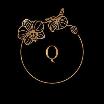 ゴールドフレームテンプレートオーキッドフラワーと最小限の線形スタイルの文字qのモノグラムコンセプト。テキストのコピースペースとベクトル花のロゴ。化粧品、医薬品、食品、ファッション、美容のエンブレム