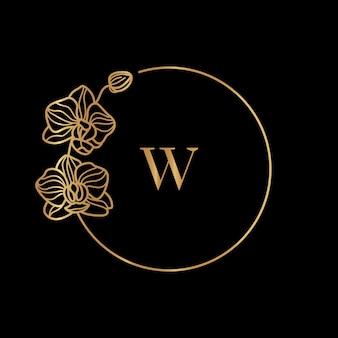 골드 프레임 템플릿 난초 꽃과 문자 w가 있는 모노그램 개념은 최소한의 선형 스타일입니다. 텍스트 복사 공간이 있는 벡터 꽃 로고. 화장품, 의약품, 식품, 패션, 미용 엠블럼